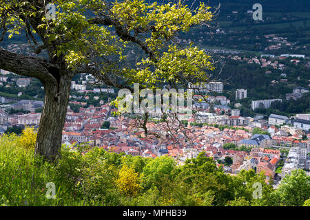 The City of Gap at sunset from above. Hautes-Alpes, Southern French Alps, France - Stock Image
