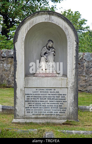 The Haslam Memorial - dedicated to Lucy McEwen Haslam -  in Kingussie Parish Churchyard, Kingussie, Highland, Scotland, UK. - Stock Image