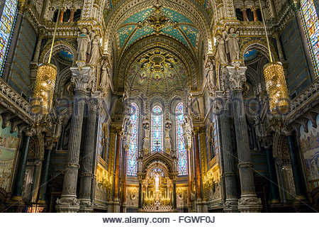 Notre-Dame de Fourviere basilica on the Fourvière hill in Lyon (France) - Stock Image