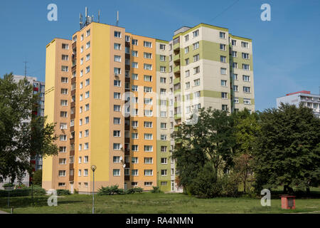 Petrzalka, Slovakia- The apartment building from the socialist era of Bratislava suburbs still being used and maintained to this day. - Stock Image