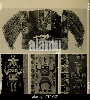 """. Andean culture history. Incas; Indians of South America. Jpp H1 ? """"^i- '1 j^^^aS ? ? Be ? ??Rm liHi flBH IHH ^)^^ illlr .i^S^^B ill* Fig. 55. Paraeaa Necropolis embroidery. Top, Poncho shirt with heavy shoulder fringe; center, Mantle borders, with foundation fabric completely hidden by the embroidery; bottom, Half of a large mantle. Center, Courtesy of Masco National de Antropologia y Arqueologia dc Peru. 274. Please note that these images are extracted from scanned page images that may have been digitally enhanced for readability - coloration and appearance of these illustrations may n - Stock Image"""
