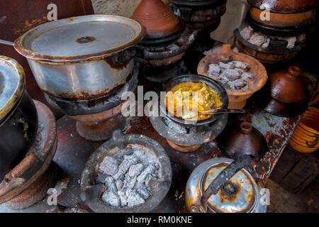 Street market tagine food in Jemaa el-Fna square in Marrakesh in Morocco. - Stock Image
