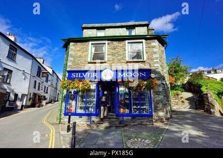 Silver Moon Gift shop,Ambleside,Lake District,England,UK - Stock Image