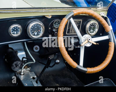 Cockpit of a 1930 Austin 7 Ulster open touring car at an Historic Motor Gathering in September 2018 at Saltburn Cleveland UK - Stock Image