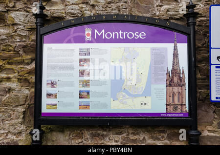 A tourist map of Montrose in Scotland showing places of interest to visit. - Stock Image