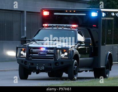 Helsinki, Finland. 15th July 2018. Special ambulance in the convoy of President Donald Trump having arrived at Helsinki for the summit between the Presidents of the USA and the Russian Federation on 15 July 2018. Credit: Hannu Mononen/Alamy Live News - Stock Image