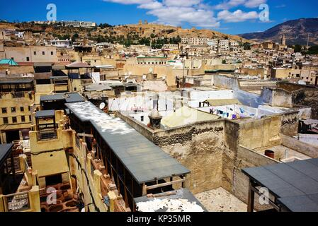 Elevated view of the medina of Fez, Morocco - Stock Image