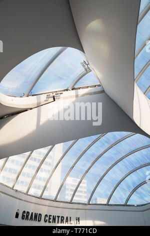 Birmingham Grand Central retail plaza above New Street Station with the dramatic transluscent roof. - Stock Image