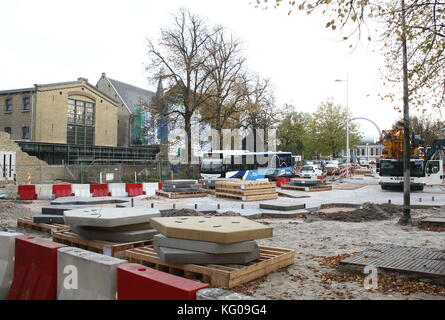 Leeuwarden inner city being renovated for European Cultural Capital Celebrations in 2018. Blokhuisplein street, - Stock Image