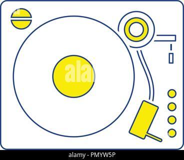 Vinyl player icon. Thin line design. Vector illustration. - Stock Image