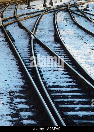 Railway with snow Denmark - Stock Image