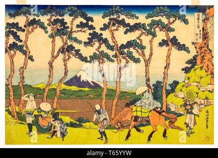 Katsushika Hokusai, Hodogaya on the Tokaido (Tokaido Hodogaya), print, c. 1830 - Stock Image