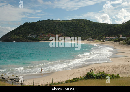 St Barths St Barts Gustavia Harbor beach early morning anse du grand colombier - Stock Image