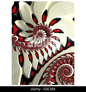 Red and white spiral fractal - Stock Image