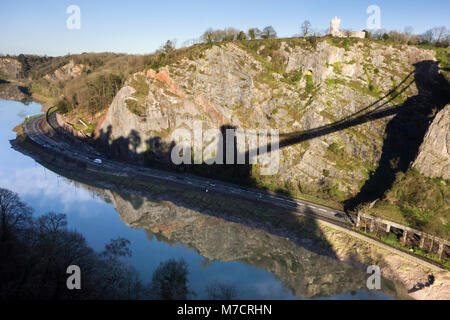 The Avon Gorge, Bristol, UK, with Clifton Observatory and Shadow of the Clifton Suspension Bridge. - Stock Image