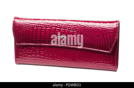 Woman dark pink leather purse isolated on the white background - Stock Image