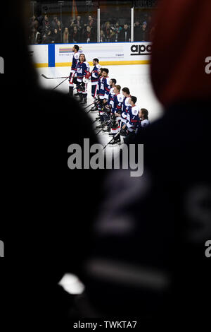 Melbourne, Australia. 21st June 2019, O'Brien Group Arena, Melbourne, Victoria, Australia; 2019 Ice Hockey Classic, Canada versus USA; USA players line up during the national anthems Credit: Action Plus Sports Images/Alamy Live News - Stock Image