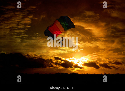 Evening Parachute Jump - Stock Image