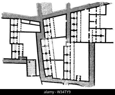 Part of a Greek city complex at El-Barah, ,  (cultural history book, 1875) - Stock Image