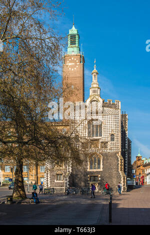 The Guildhall to the front and City Hall tower to the rear in Norwich city centre, Norfolk, East Anglia, England, UK. - Stock Image