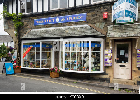 Peter Rabbit and Friends shop, The Square, Hawkshead Cumbria. Lake District. The shop is an official stockist of - Stock Image
