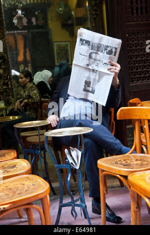 Fishawy Cafe at Khan el Khalili Bazaar in old city of Cairo Egypt - Stock Image