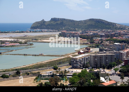 Cagliari Salt Flats and the so called Devil s Saddle - Stock Image