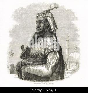 Nana Sahib, Peshwa of the Maratha empire.  Led the rebellion in Cawnpore (Kanpur) during the 1857 uprising in India - Stock Image