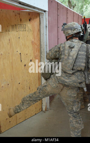 California Army National Guard Soldiers from the 1st Battalion, 184th Infantry Regiment conduct combat training - Stock Image