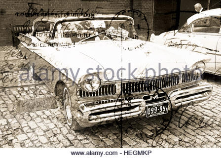 Vintage classic car motor vehicle retro written text postcard stamp overlay - Stock Image