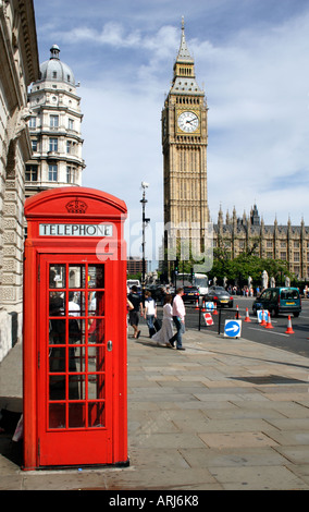Big Ben and Red Telephone Box Westminster London - Stock Image