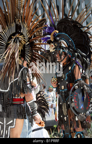 Mexican Men Dressed in Aztec Costume at a Traditional Aztec Festival at the National Museum of Anthropology in Mexico - Stock Image