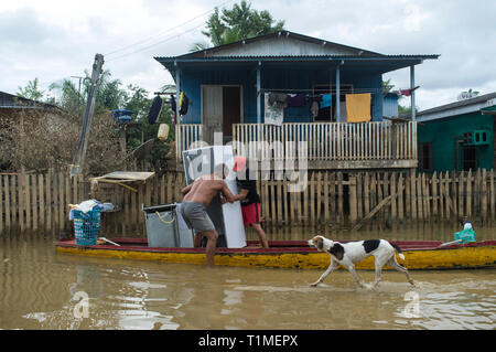 2015 flooding in Brazilian Amazon, family transports home appliances in small boat through flooded street at Taquari district, Rio Branco city, Acre State. Floods have been affecting thousands of people in the state of Acre, northern Brazil, since 23 February 2015, when some of the state's rivers, in particular the Acre river, overflowed. Further heavy rainfall has forced river levels higher still, and on 03 March 2015 Brazil's federal government declared a state of emergency in Acre State, where current flood situation has been described as the worst in 132 years. One of the worst affected ar - Stock Image