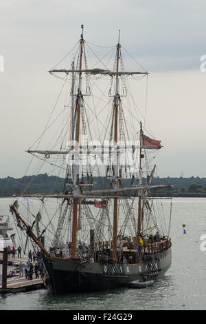 Southampton, UK. 11th September 2015. Southampton Boat Show 2015. The Earl of Pembroke, a tall ship moored at the - Stock Image