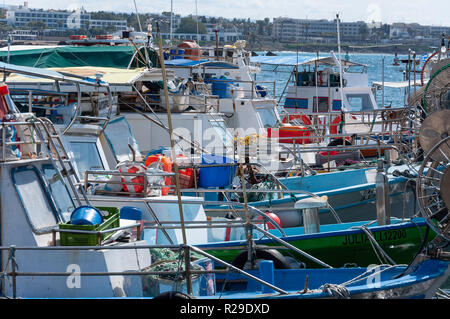 Fishing boats in Paphos Harbour, Paphos (Pafos), Pafos District, Republic of Cyprus - Stock Image