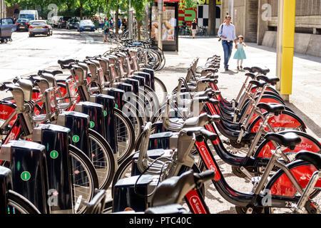 London England United Kingdom Great Britain Lambeth South Bank Santander Cycles public bicycle hire scheme bike sharing system Boris Bikes docking sta - Stock Image