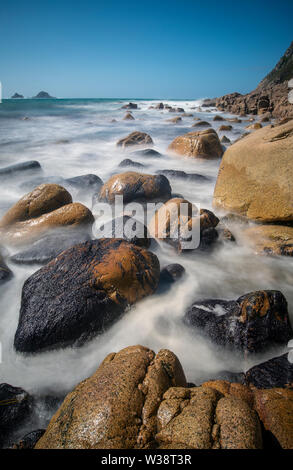 Porth Nanven (also known as Cot Valley beach) in Cornwall, England, UK - Stock Image
