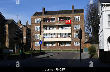 Tottenham London UK - Block of flats with washing hanging out on balconies to dry  Photograph taken by Simon Dack - Stock Image