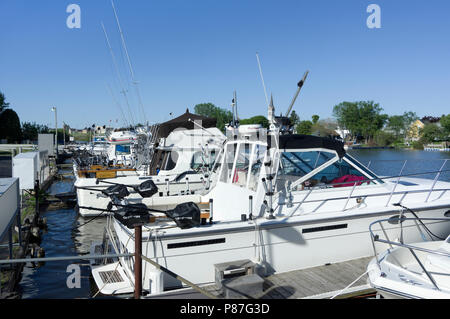 Lake Michigan charter fishing boats moored at Two Rivers, Wisconsin - Stock Image