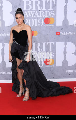 The Brit Awards 2019 held at the O2 - Arrivals  Featuring: Mabel McVey Where: London, United Kingdom When: 20 Feb 2019 Credit: Lia Toby/WENN.com - Stock Image
