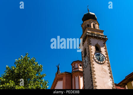 Church and tower at Levico Terme, Trentino, Italy - Stock Image
