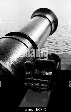 Cannon on a tall ship. - Stock Image