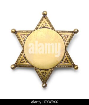 Blank Police Star Badge Isolated on White Background. - Stock Image