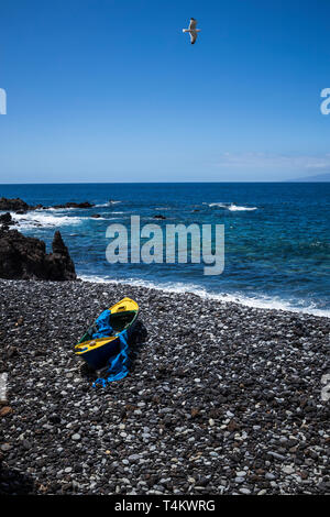 Old wooden rowing boat on a stony rocky beach in a cove at Fonsalia, with seagulls flying overhead, Playa San Juan, Tenerife, Canary Islands, Spain - Stock Image