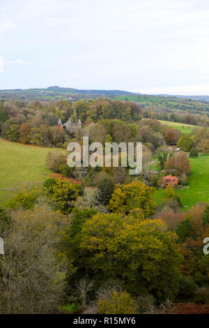 A vertical view of Dinefwr Park and Newton House in autumn from Dinefwr Castle near Llandeilo Carmarthenshire Wales UK  KATHY DEWITT - Stock Image