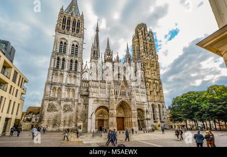 Notre-Dame de l'Assomption de Rouen, the exterior of the Notre Dame Cathedral in the Normandy city of Rouen - Stock Image