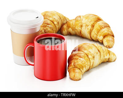 Coffe mug, cup and croissants isolated on white background. 3D illustration. - Stock Image