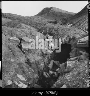 Cononley Lead Mine, Stockshott Lane, Cononley, Craven, North Yorkshire, 1966-1974. The portal to the inclined plane at Cononley Lead Works surrounded by spoil heaps. - Stock Image