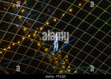 Leeds, UK. 5 October 2018. Photographs from the 14th annual Light Night event in Leeds.  Thousands of visitors marvelled at the fantastic displays installed throughout the city. Credit: James Copeland/Alamy Live News - Stock Image