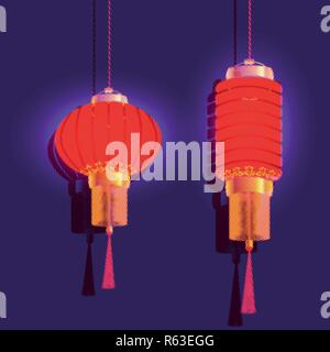Chinese New Year. Two red chinese lantern. Isolated illustration - Stock Image